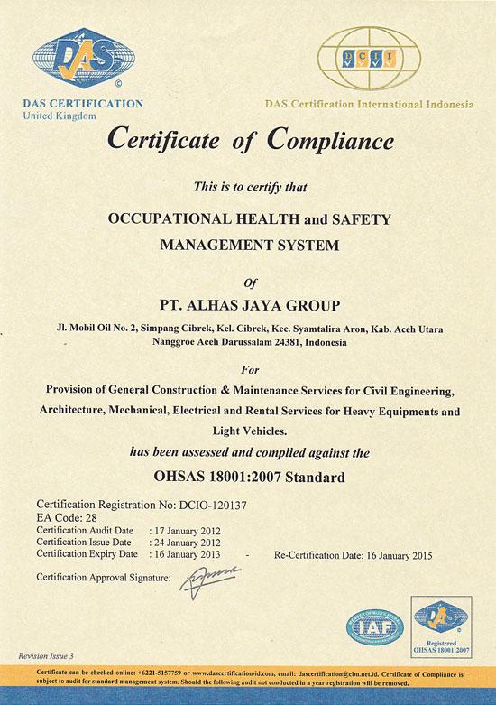 PT Alhas Jaya Group | OHSAS Certificate